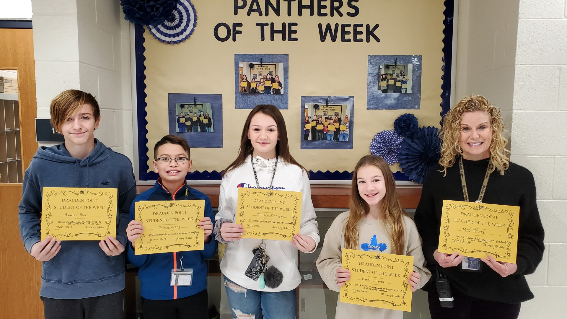 January 13, Staff and Students of the Week